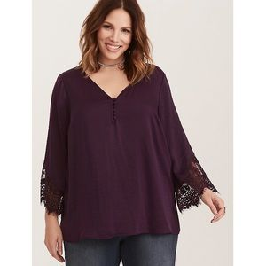 Torrid Purple Lace Bell Sleeve Top Size 4X